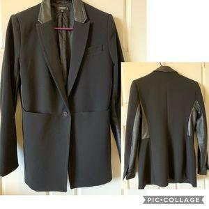 Stylish Black Blazer w/Leather Details